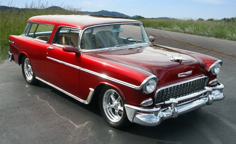 1955 Chevy Nomad Restomod Hollywood Wheels Auction Shows